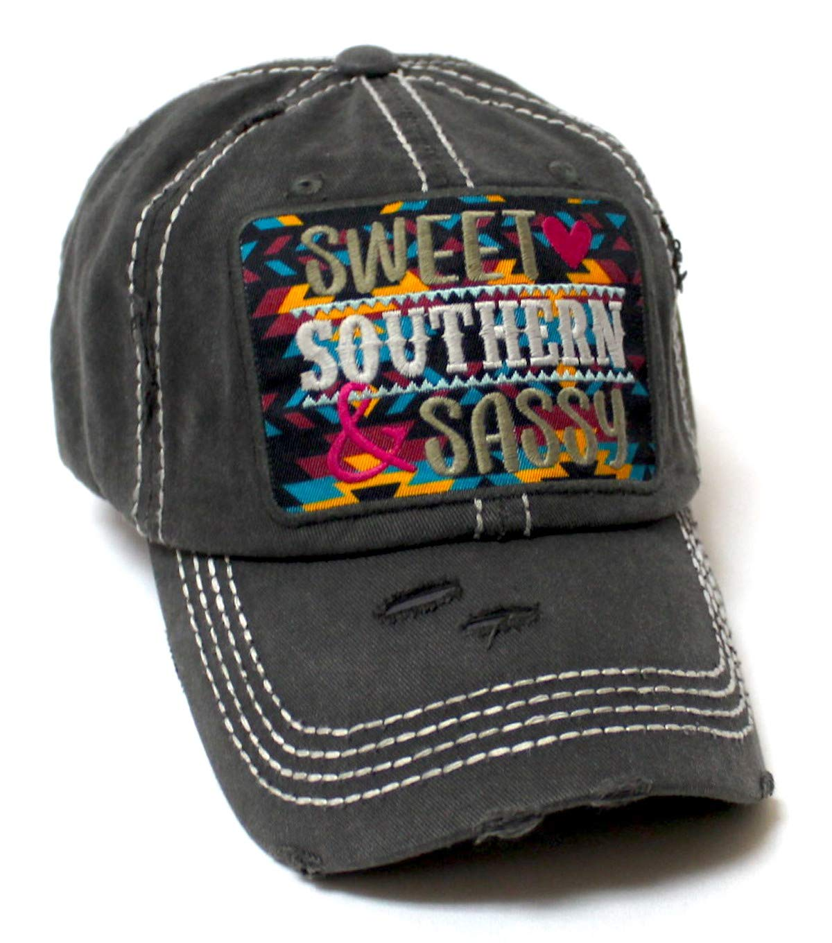 Women's Baseball Cap Sweet, Southern & Sassy Tribal Aztec Pattern Patch Embroidery Monogram Hat, Vintage Black