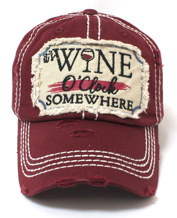 Burgundy It's Wine O'Clock Somewhere Wine Clock Women's Cap - Caps 'N Vintage