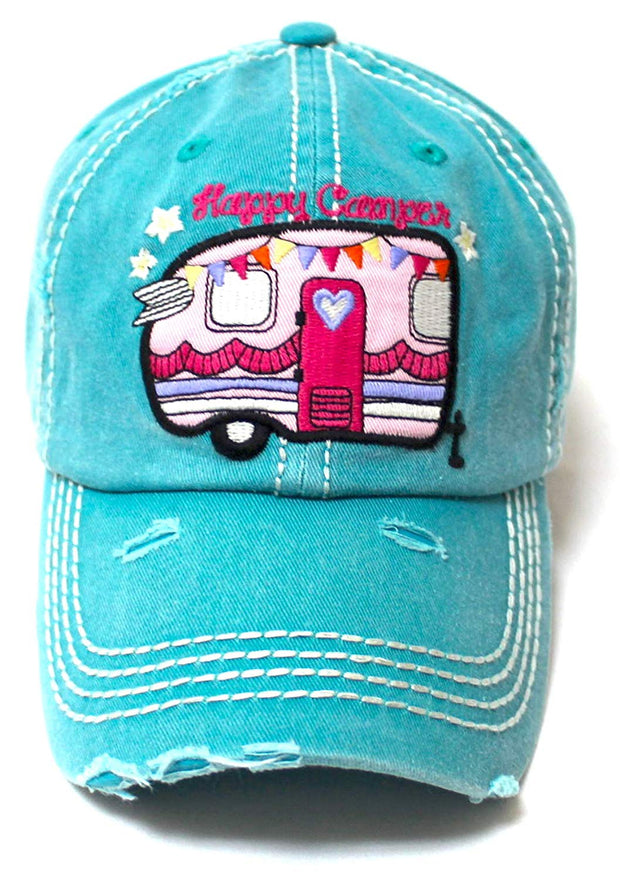 Women's Baseball Cap Vintage Happy Camper Monogram Embroidery Hat, Turquoise Blue - Caps 'N Vintage