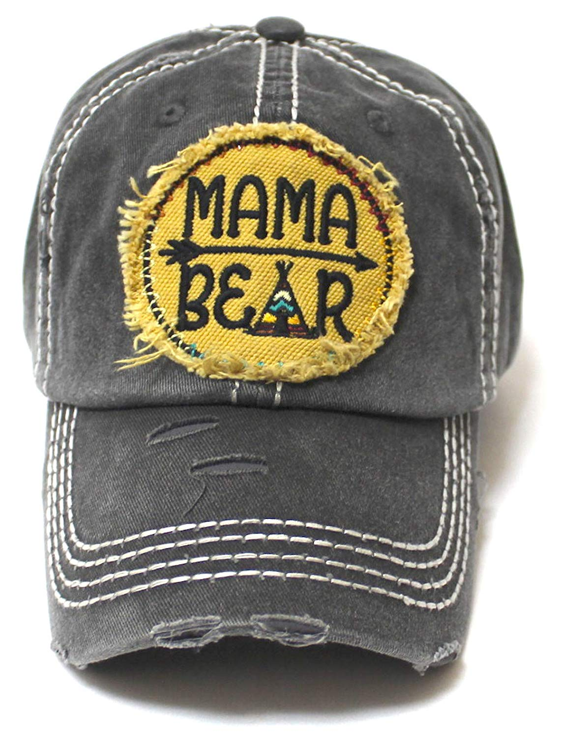 Women's Camping Cap Tribal Bohemian Mama Bear Patch Embroidery Hat, Graphite - Caps 'N Vintage