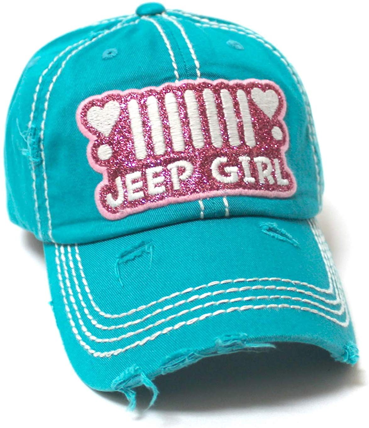 Women's Ballcap Jeep Girl Pink Glitter, Hearts Patch Embroidery Hat, Jewel Turquoise - Caps 'N Vintage