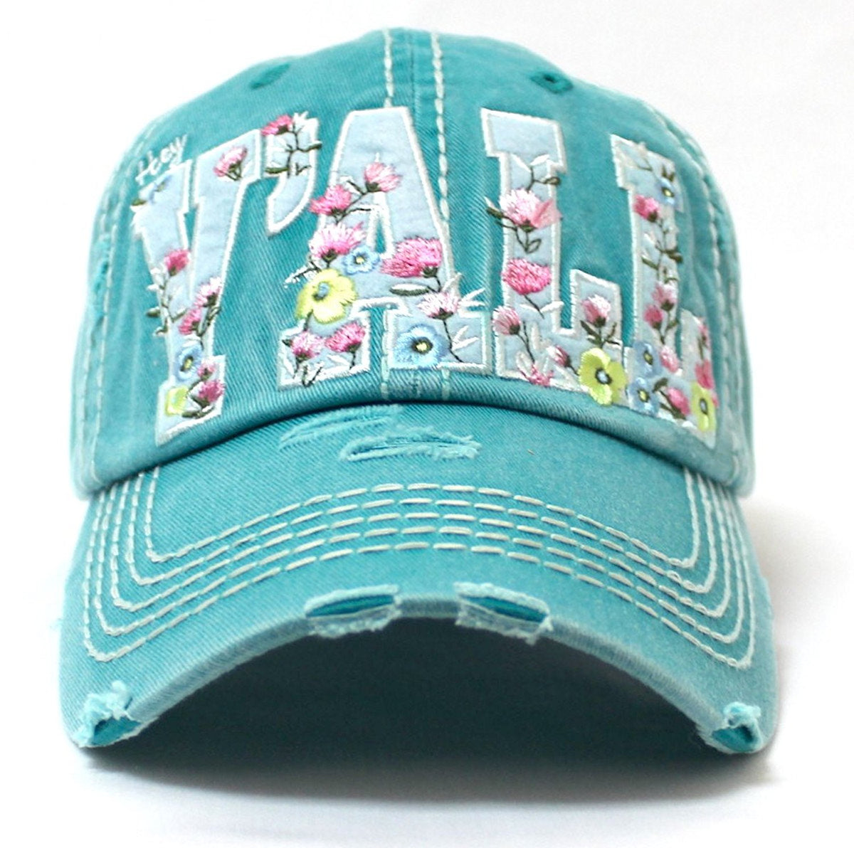 CAPS 'N VINTAGE Turquoise Floral Embroidery Hey Y'all Vintage Hat - Caps 'N Vintage