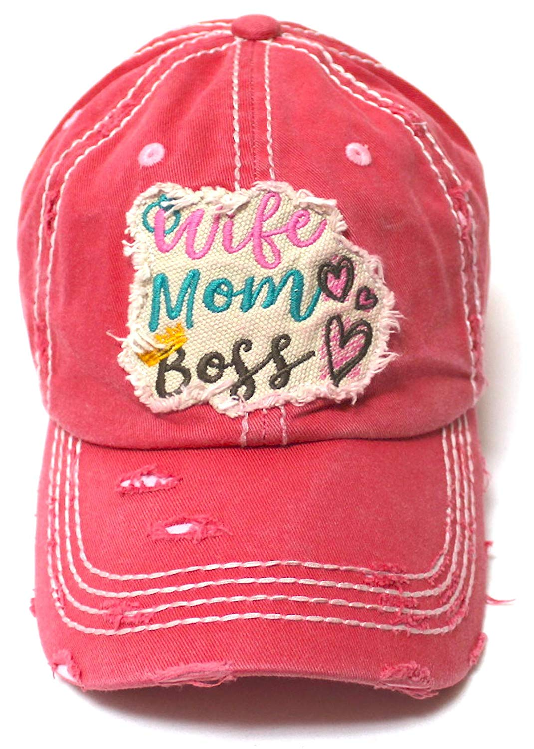 Women's Ballcap Wife, Mom, Boss Patch Embroidery Vintage Hat, Rose Pink - Caps 'N Vintage