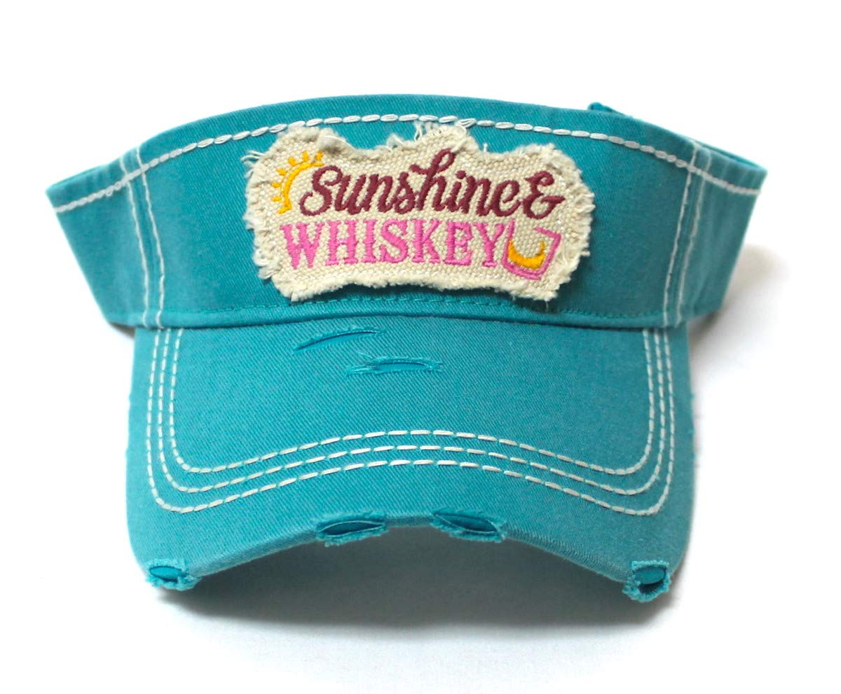 CAPS 'N VINTAGE Womens Baseball Cap Sunshine & Whiskey High Ponytail Bun Half Visor Adjustable Athletic Hat, California Turquoise - Caps 'N Vintage
