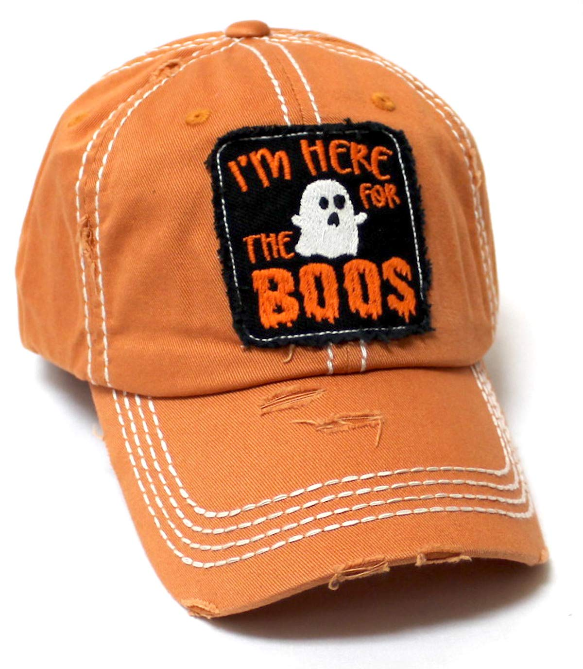 Women's Vintage Baseball Cap I'm Here for The Boos Halloween Spirit Patch Embroidery Hat, Pumpkin Spice Latte