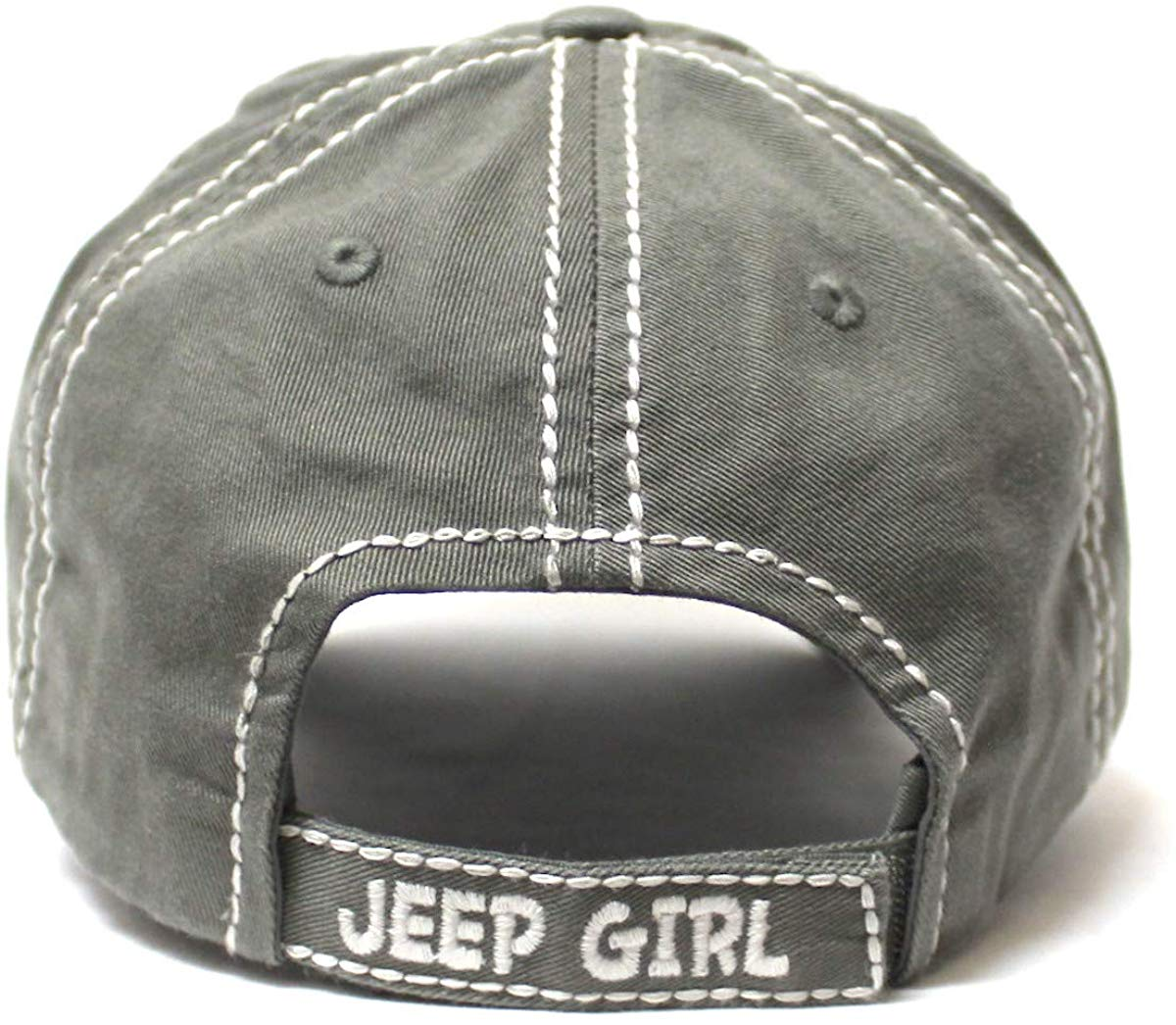 Women's Ballcap Jeep Girl Pink Glitter, Hearts Patch Embroidery Hat, Silver Mist Grey - Caps 'N Vintage