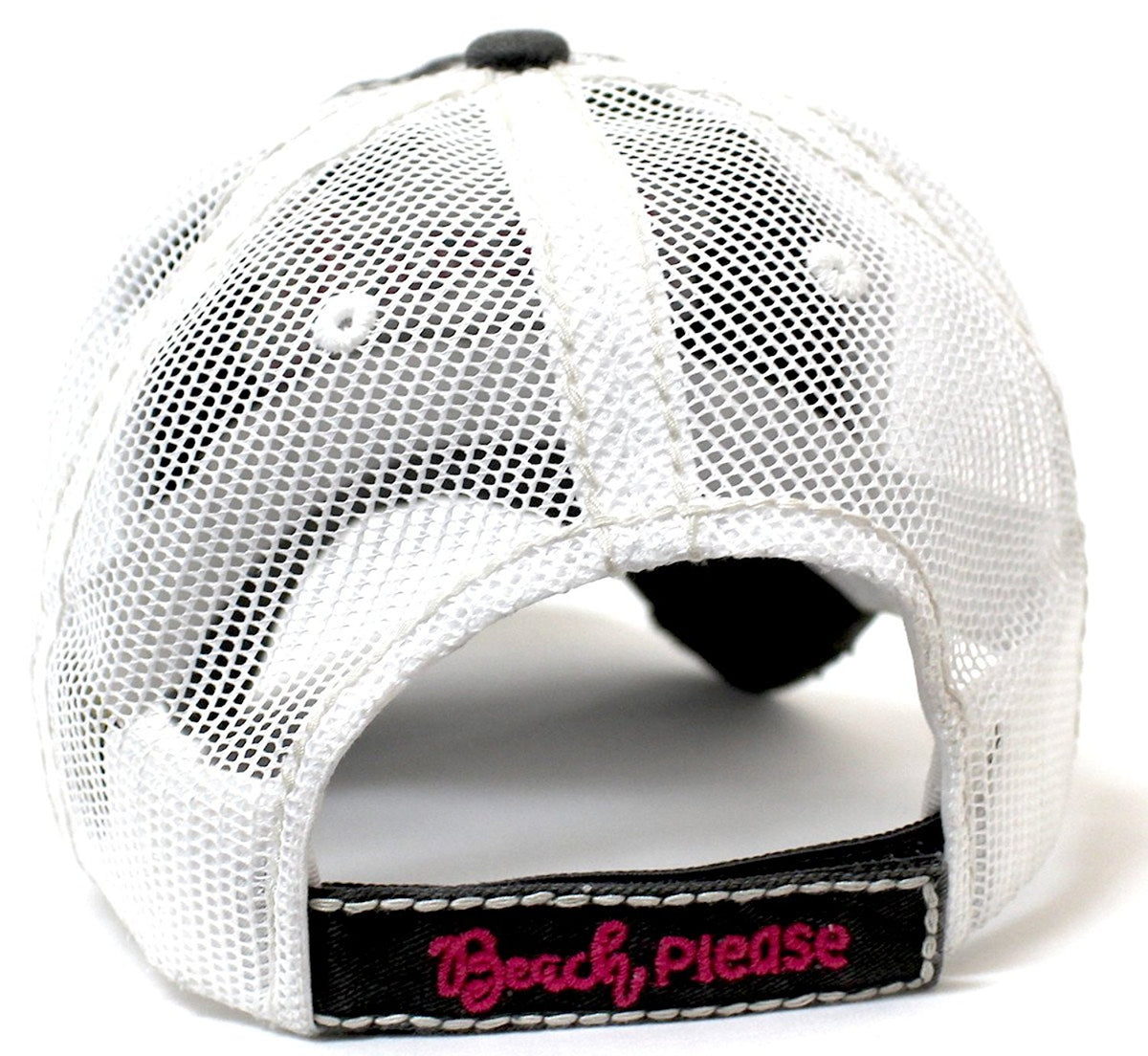 CAPS 'N VINTAGE Women's Beach Please Patch Embroidery Mesh Back Baseball Hat-Blk - Caps 'N Vintage
