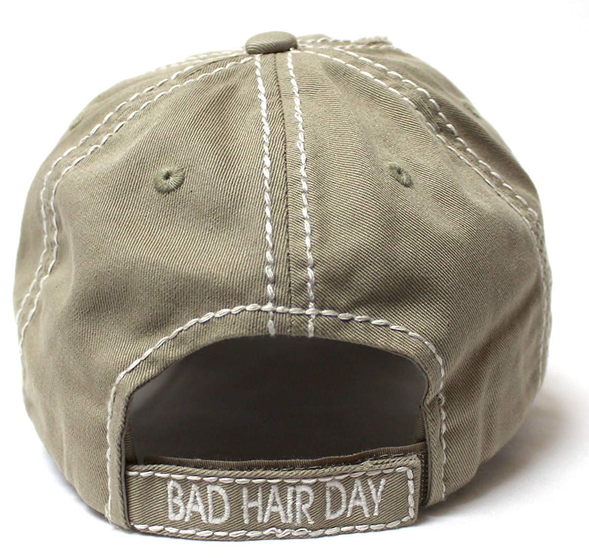 CAPS 'N VINTAGE Bad Hair Day Stitch Embroidery Distressed Baseball Hat, Khaki - Caps 'N Vintage