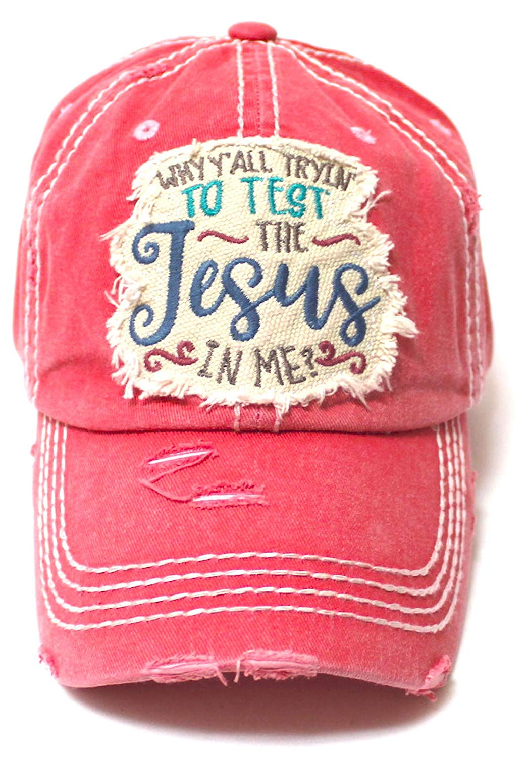 Women's Ballcap Why Y'all Tryin' to Test The Jesus in Me? Christian Patch Embroidery Vintage Hat, Rose Pink - Caps 'N Vintage