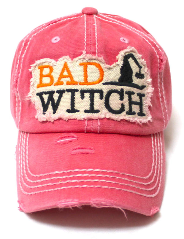 Women's Vintage Baseball Cap Bad Witch Halloween Spirit Patch Embroidery Hat, Rose Pink