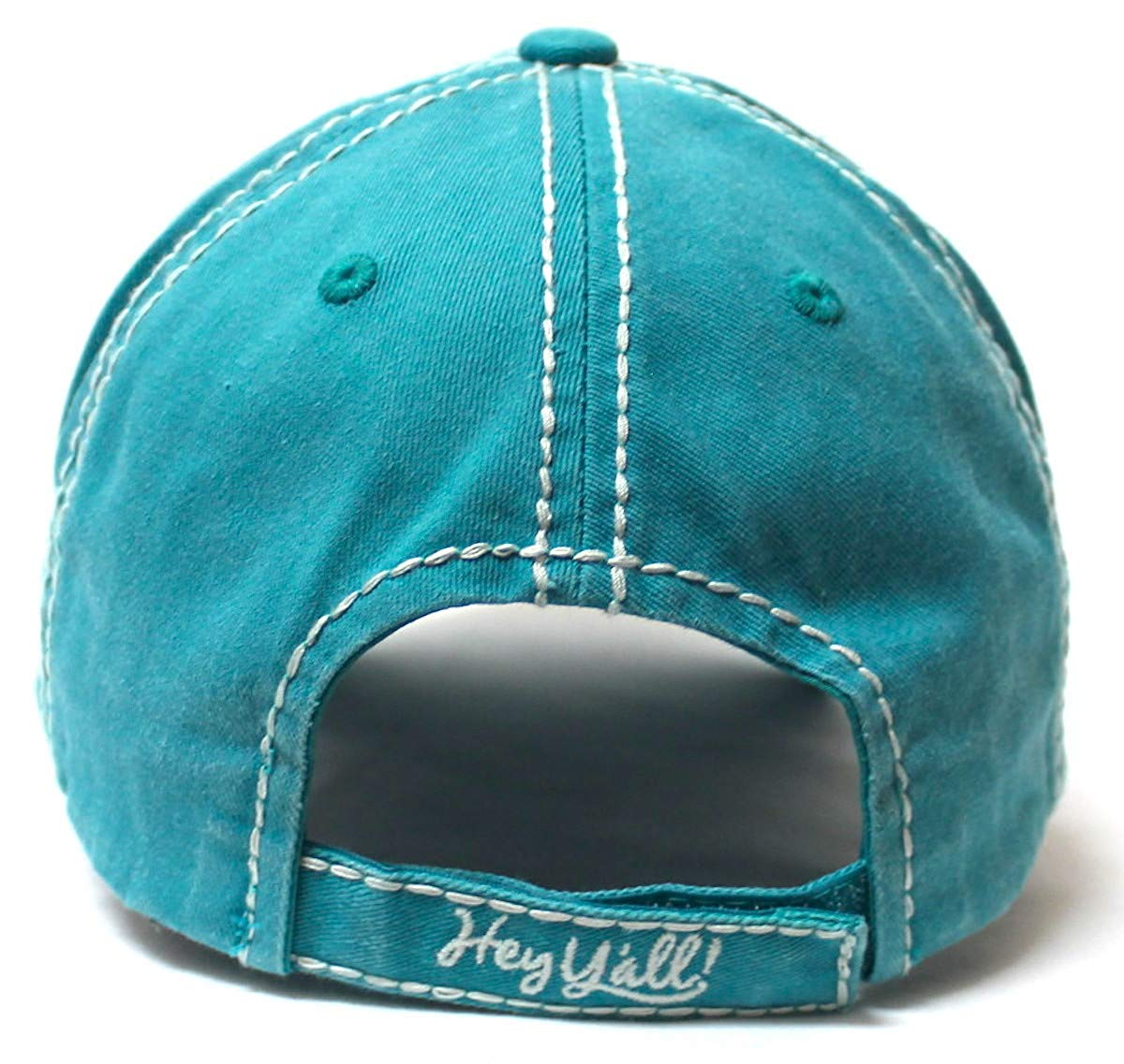 Women's Summer Ballcap Hey Y'all! Wildflower Embroidery Hat, Turquoise - Caps 'N Vintage