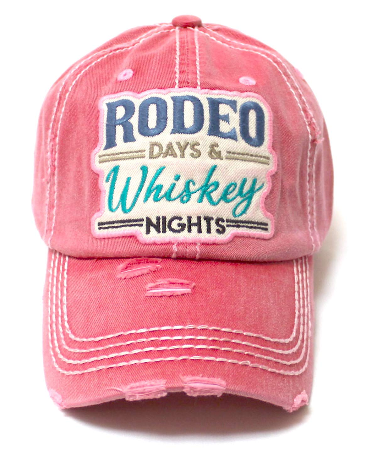 Rodeo Days Whiskey Nights Baseball Cap - Distressed Hats for Women - Summer Style Accessory in Rose Pink Love - Caps 'N Vintage