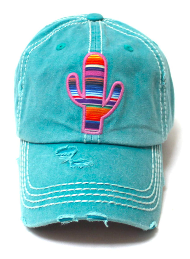 CAPS 'N VINTAGE Women's Distressed Serape Patterned Cactus Monogram Embroidery Ballcap, California Beach Blue - Caps 'N Vintage
