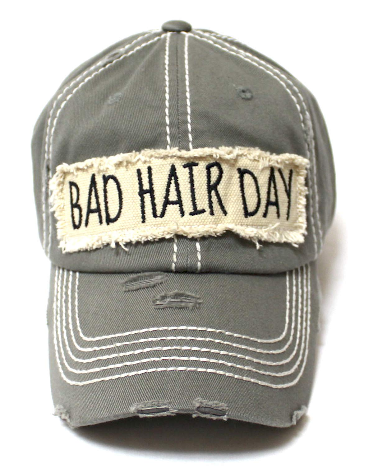CAPS 'N VINTAGE Women's Ballcap Bad Hair Day Patch Embroidery Baseball Hat, Moss Grey