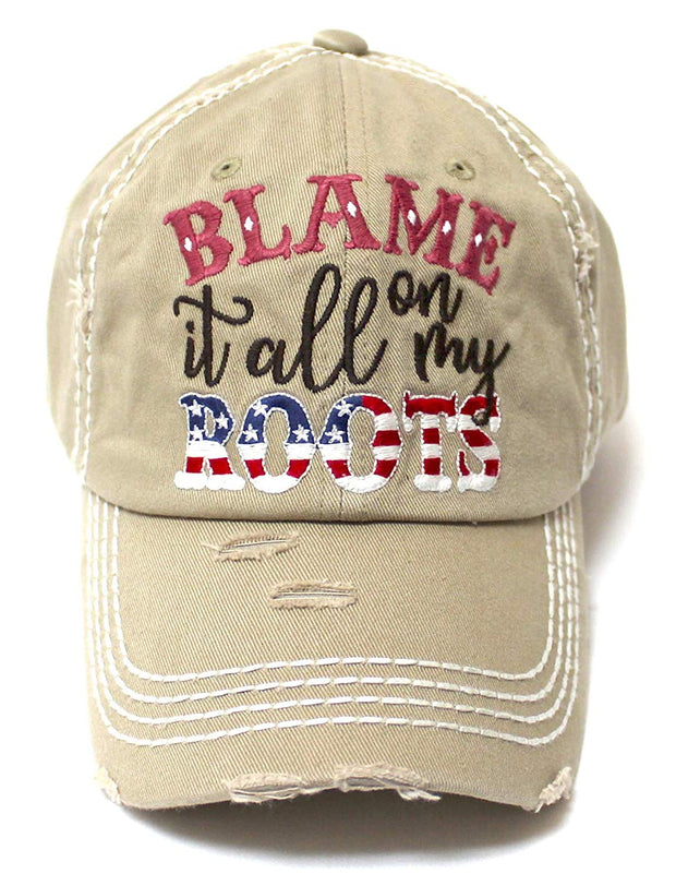 Classic Ballcap Blame it All on My Roots Monogram Embroidery USA Flag Themed Hat, Western Khaki - Caps 'N Vintage