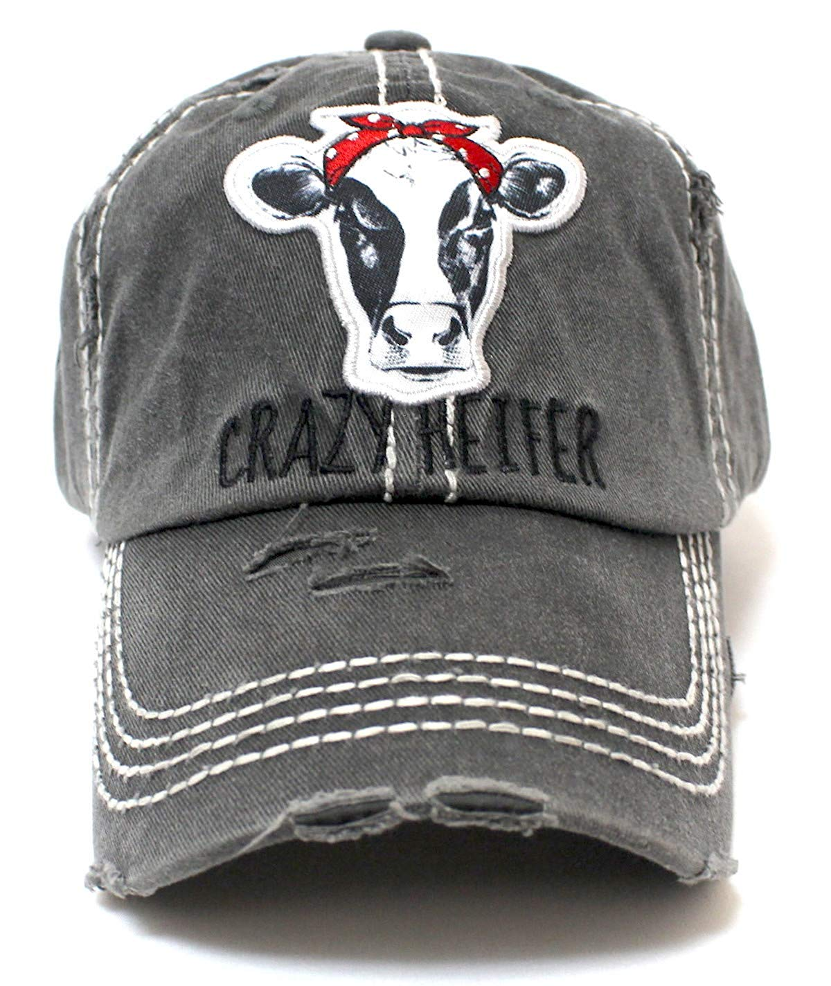 Charcoal Gray Crazy Heifer Cow Patch Embroidery Hat - Caps 'N Vintage