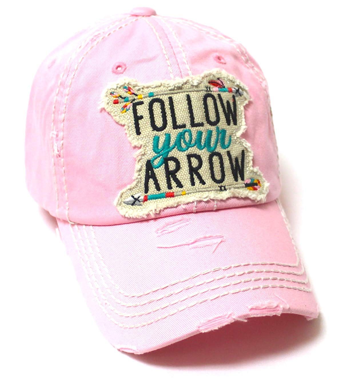 Camping Ballcap Follow Your Arrow Patch Embroidery Adjustable Baseball Hat, Princess Pink - Caps 'N Vintage