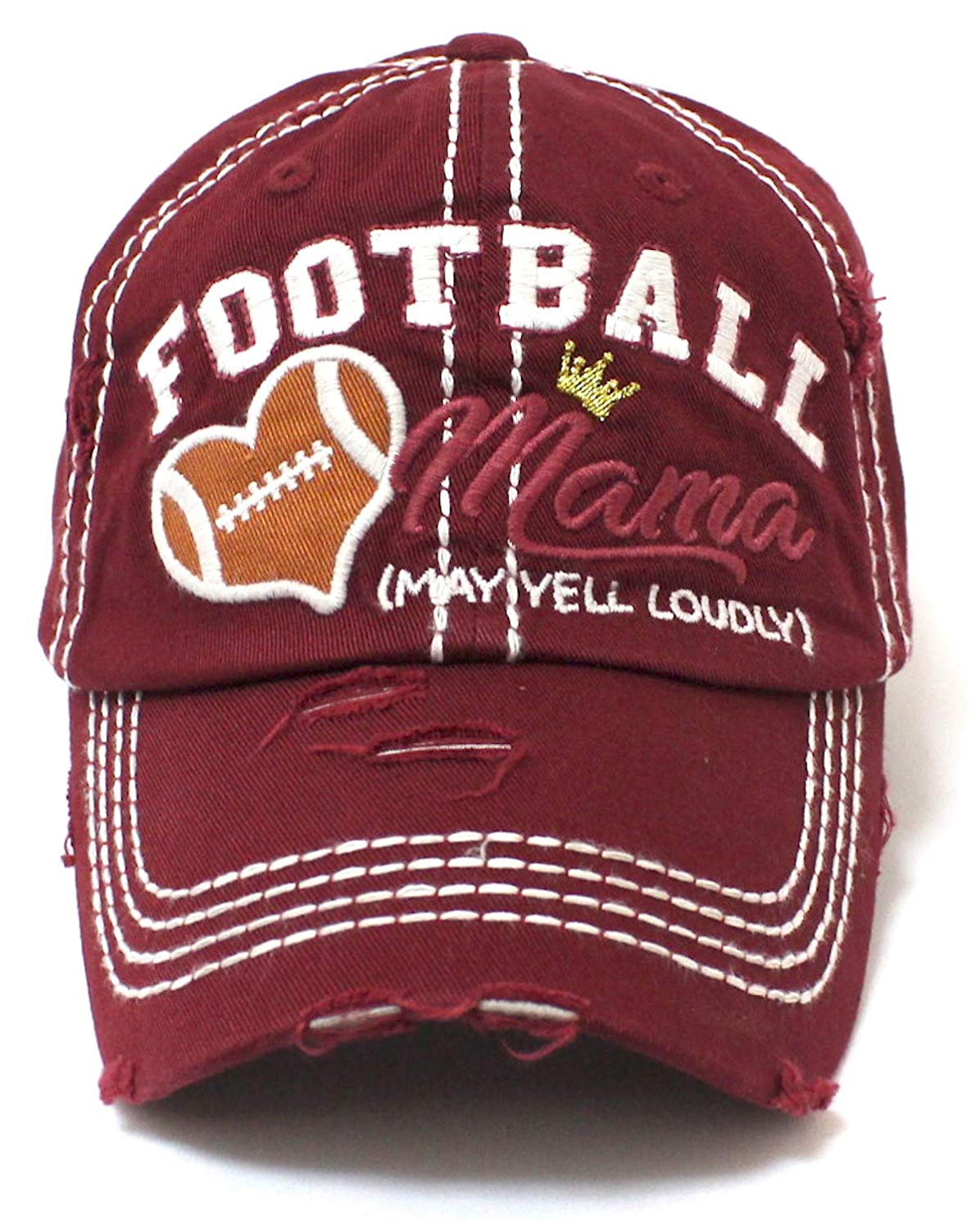 CAPS 'N VINTAGE Burgundy Football Mama Cheer Queen Hat - Caps 'N Vintage