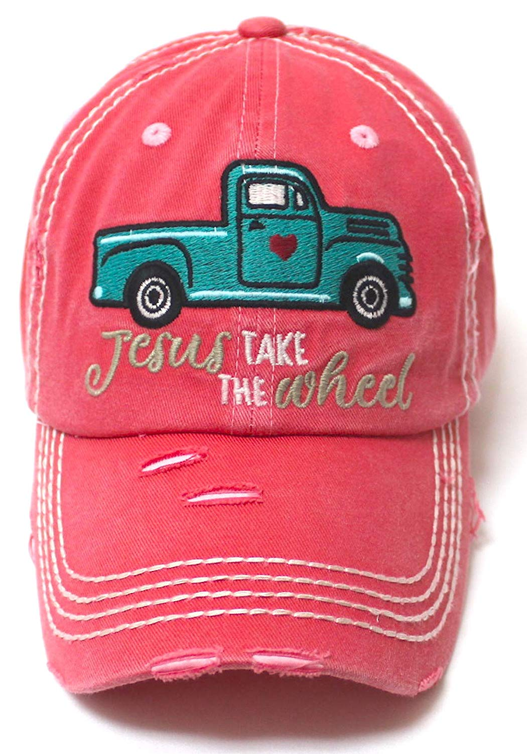 CAPS 'N VINTAGE Women's Camping Cap Jesus Take The Wheel Monogram Hippie Truck Hat, Coral Rose - Caps 'N Vintage