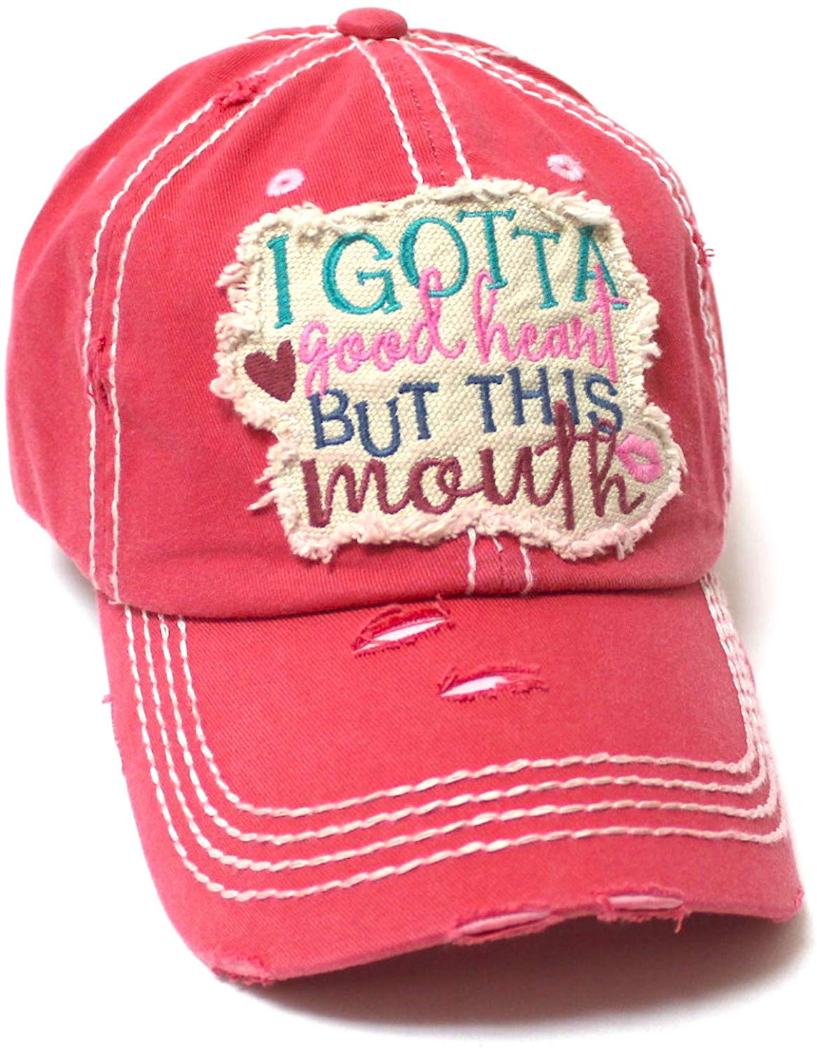 Women's Distressed Ballcap I Gotta Good Heart but This Mouth Hearts, Kisses Patch Embroidery Hat, Coral Rose - Caps 'N Vintage