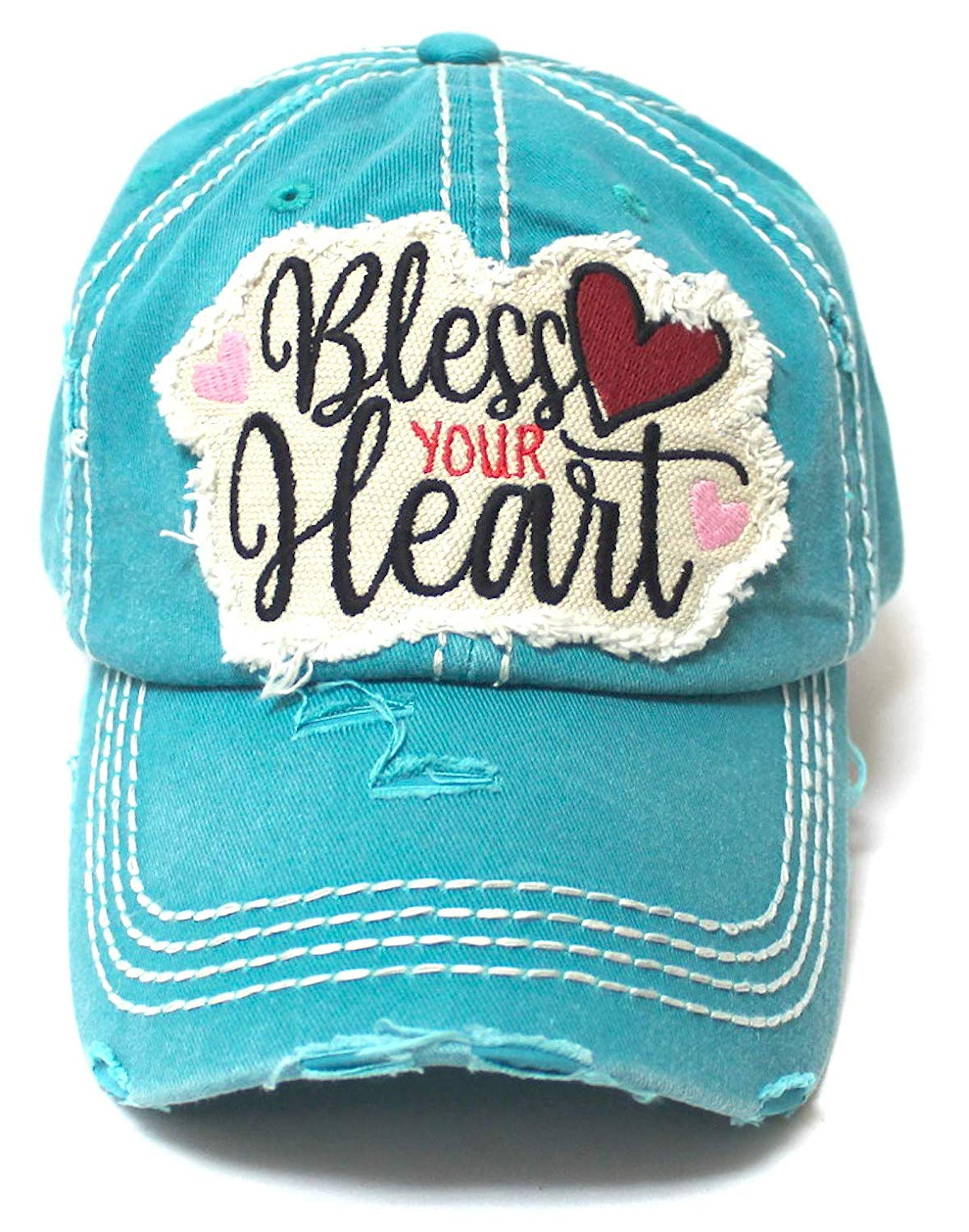 Women's Ballcap Bless Your Heart Monogram Patch Embroidery Hat w/Heart Shape Decoration, Turquoise - Caps 'N Vintage