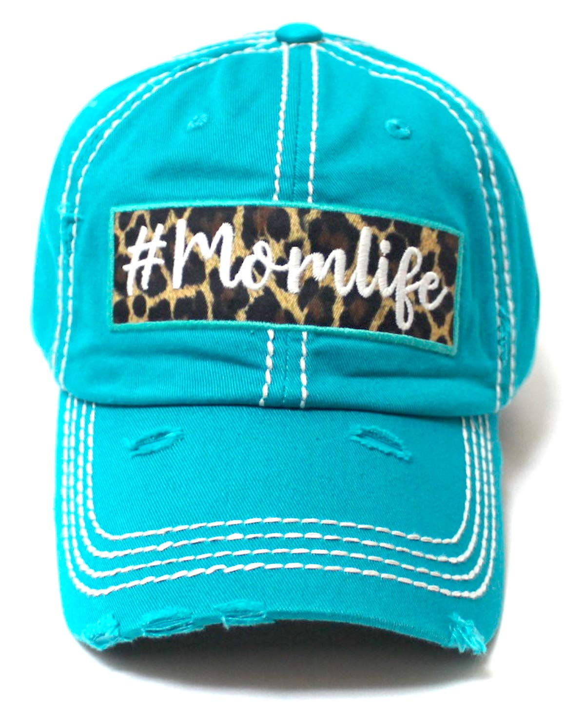 CAPS 'N VINTAGE Women's Distressed Cap #Momlife Leopard Print Patch Embroidery Monogram Hat, California Beach Blue - Caps 'N Vintage