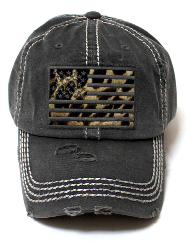 Women's Adjustable Baseball Cap Leopard Patch Embroidery American USA Flag Hat, Vintage Black