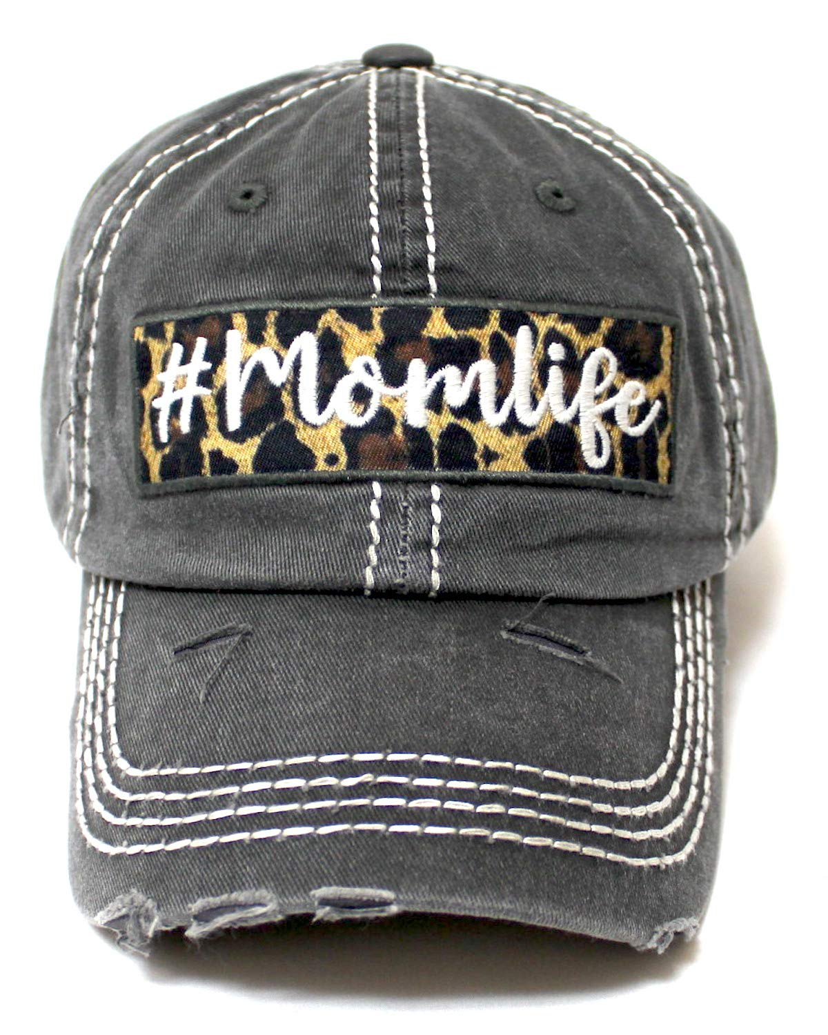 Women's Distressed Cap # Momlife Leopard Print Patch Embroidery Monogram Hat, Vintage Black - Caps 'N Vintage