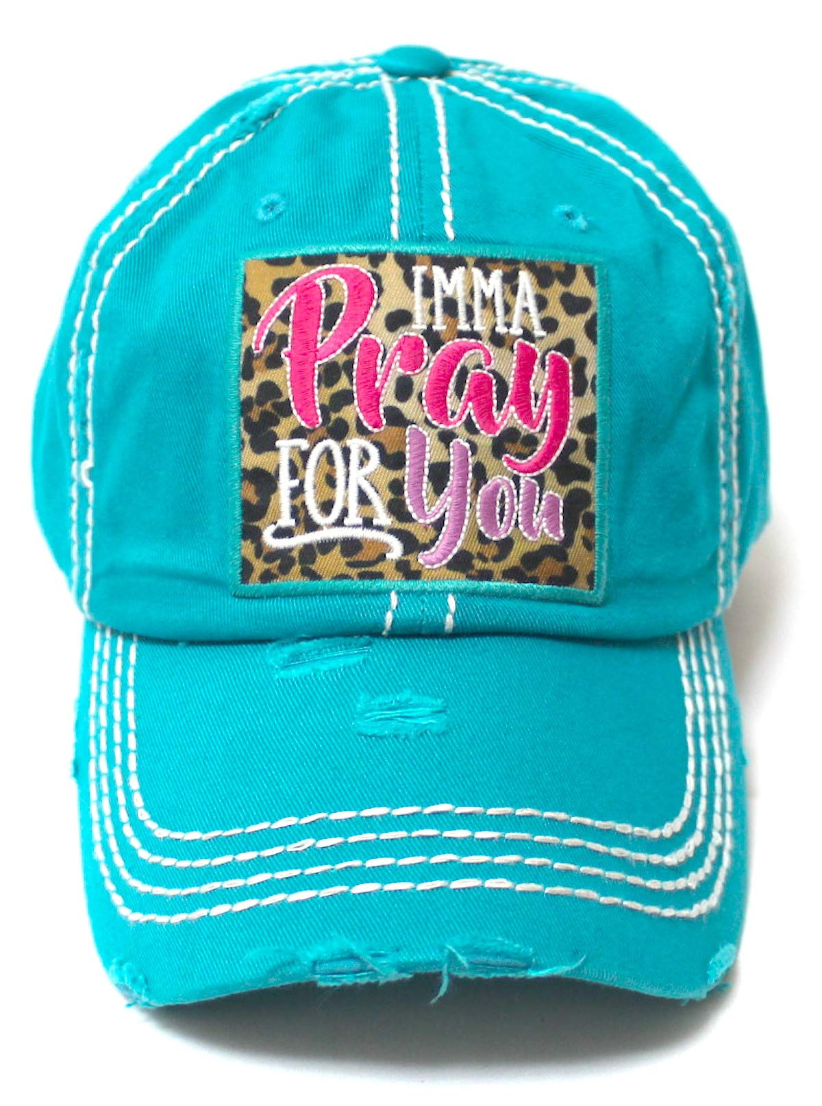 Women's Christian Themed Imma Pray for You Leopard Monogram Patch Embroidery Baseball Hat, Vintage Turquoise - Caps 'N Vintage