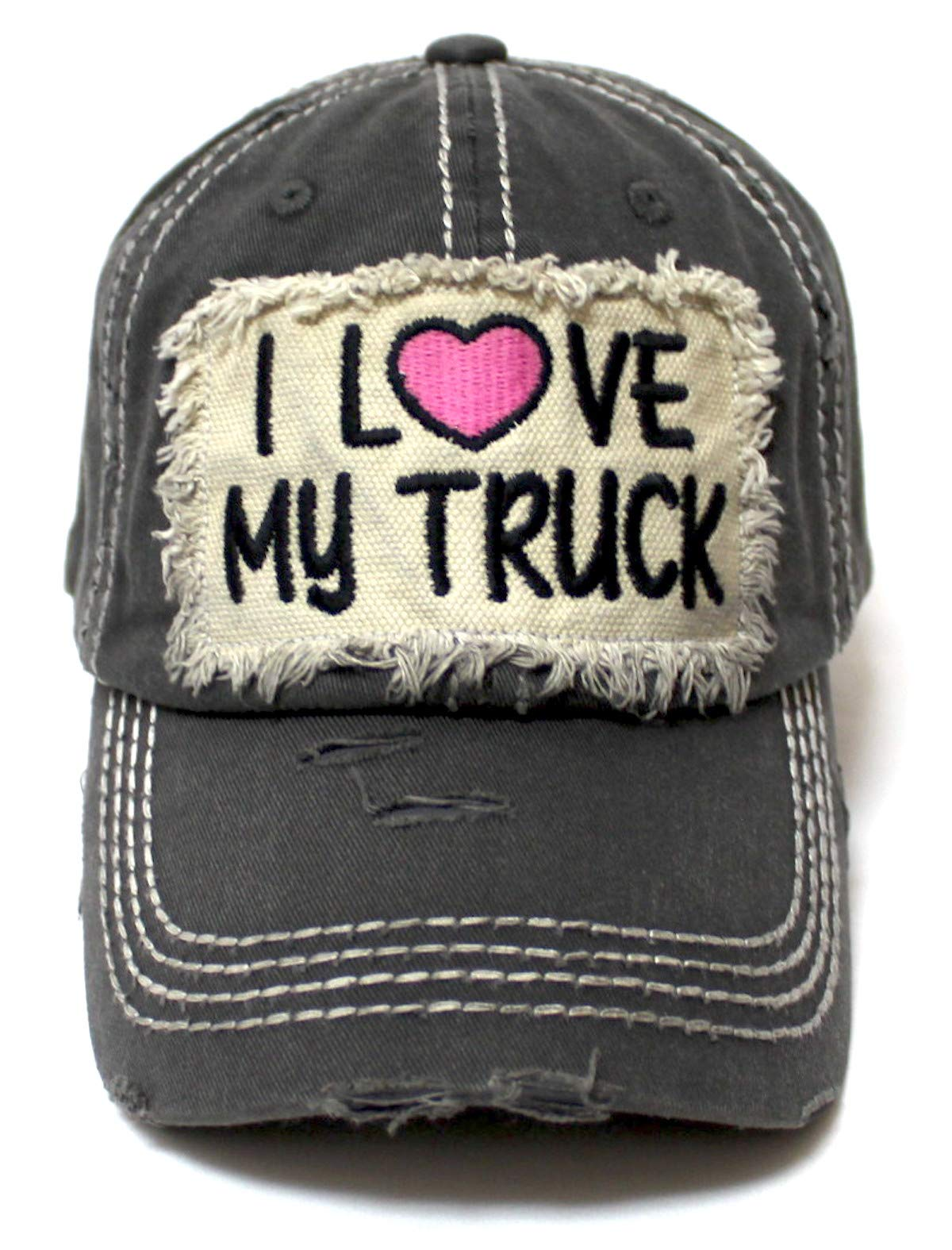 Women's Distressed Hat I Love My Truck Patch Embroidery Adjustable Cap, California Vintage Graphite - Caps 'N Vintage