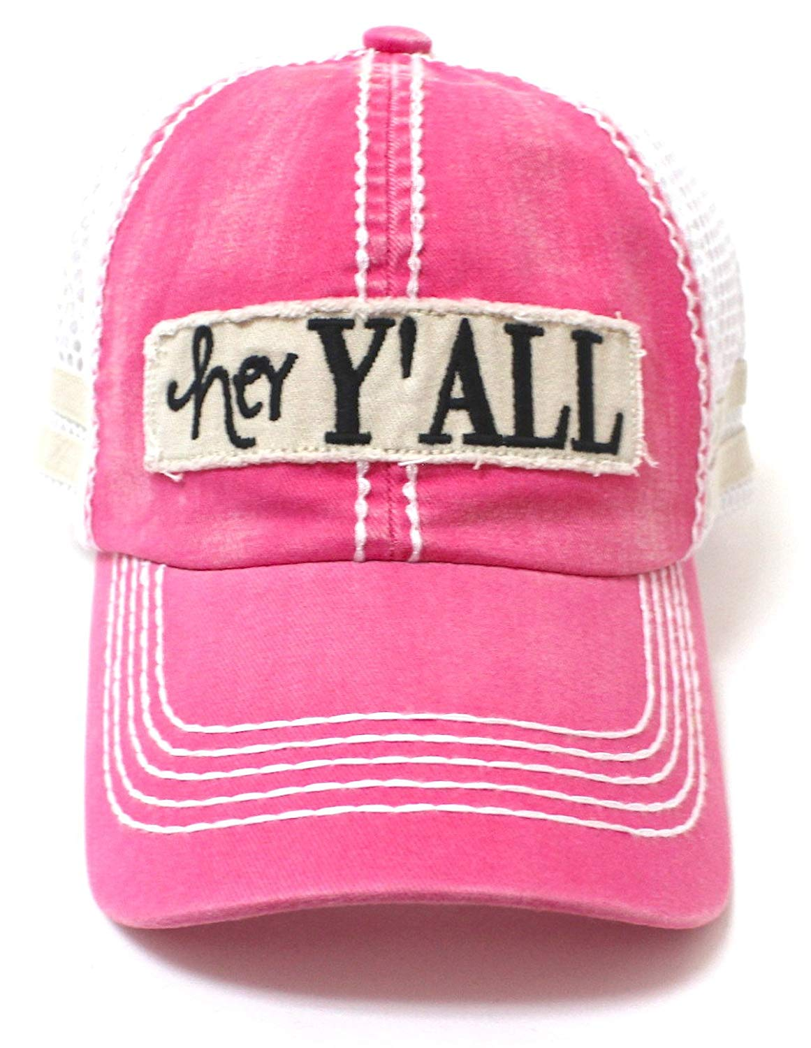 Electric Pink Hey Y'all Trucker Hat - Caps 'N Vintage