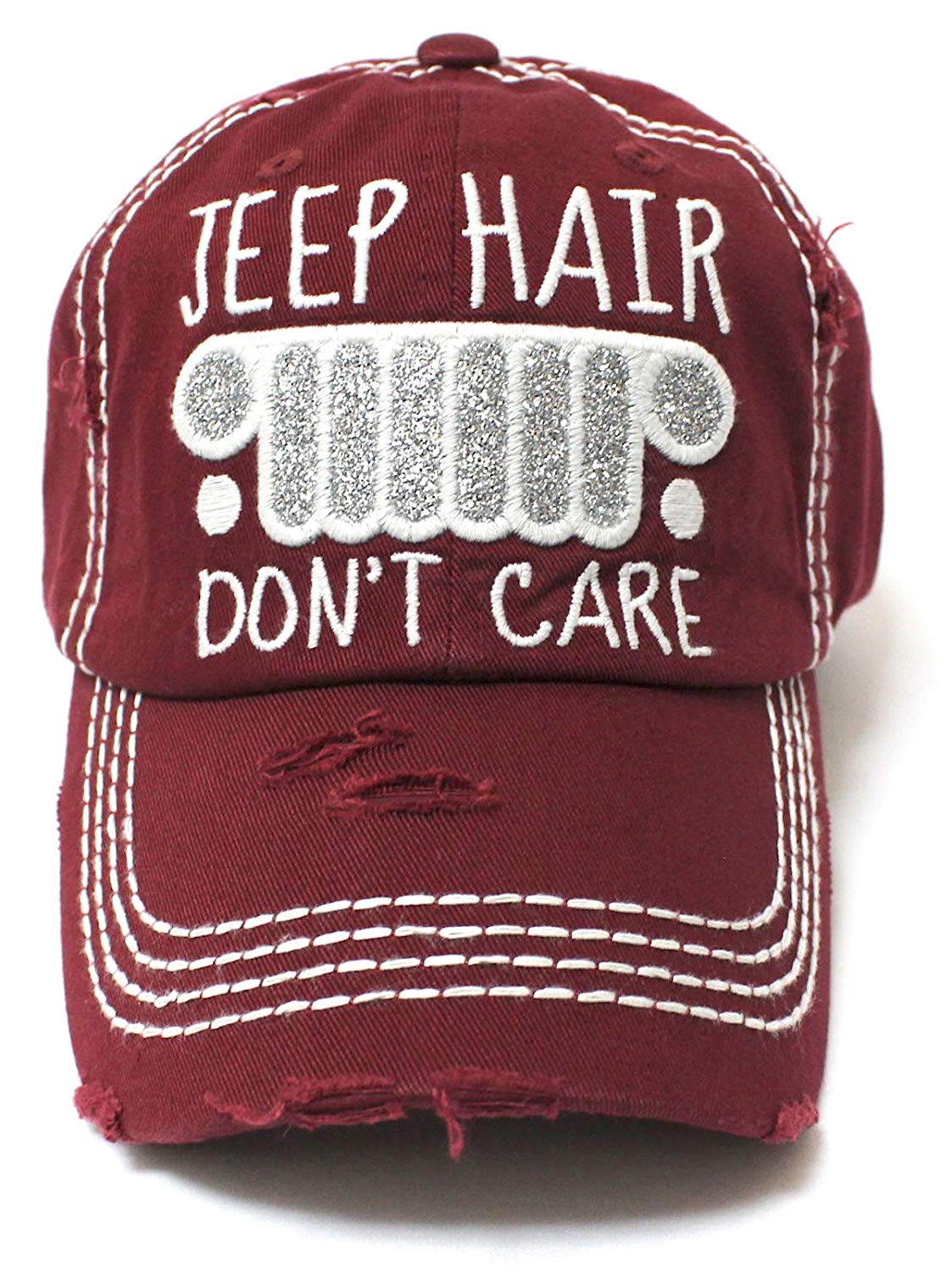 New! Burgundy Jeep Hair Don't Care Glitter Monogram Cap - Caps 'N Vintage