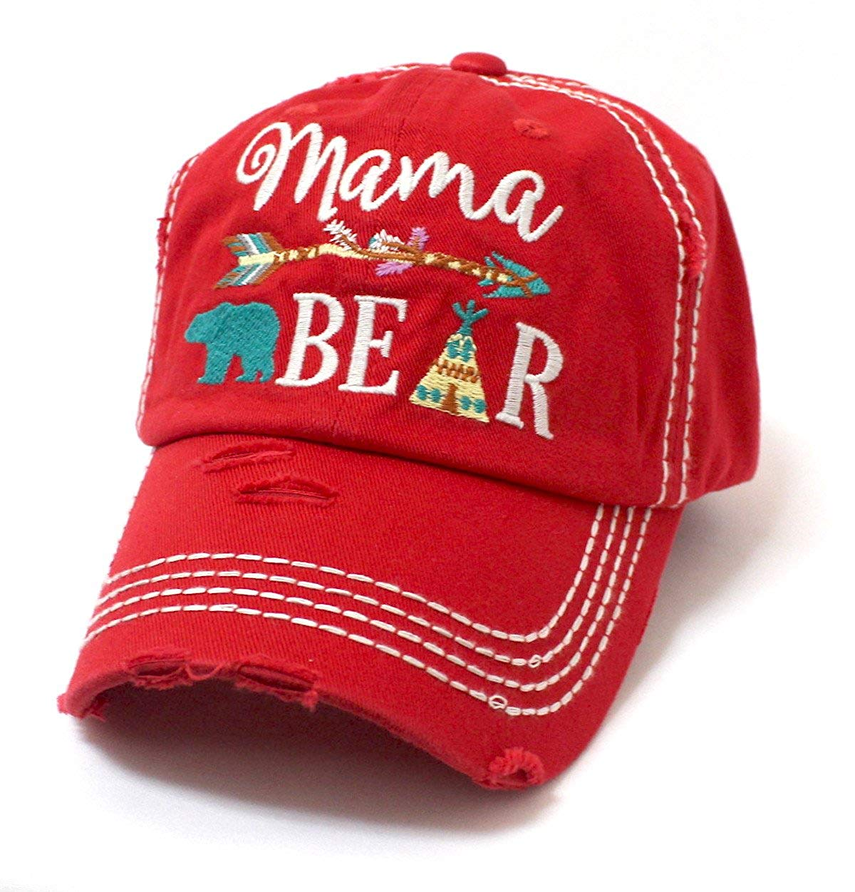 Ruby Red Mama Bear Vintage Hat w/Tribal Teepee & Arrow - Caps 'N Vintage