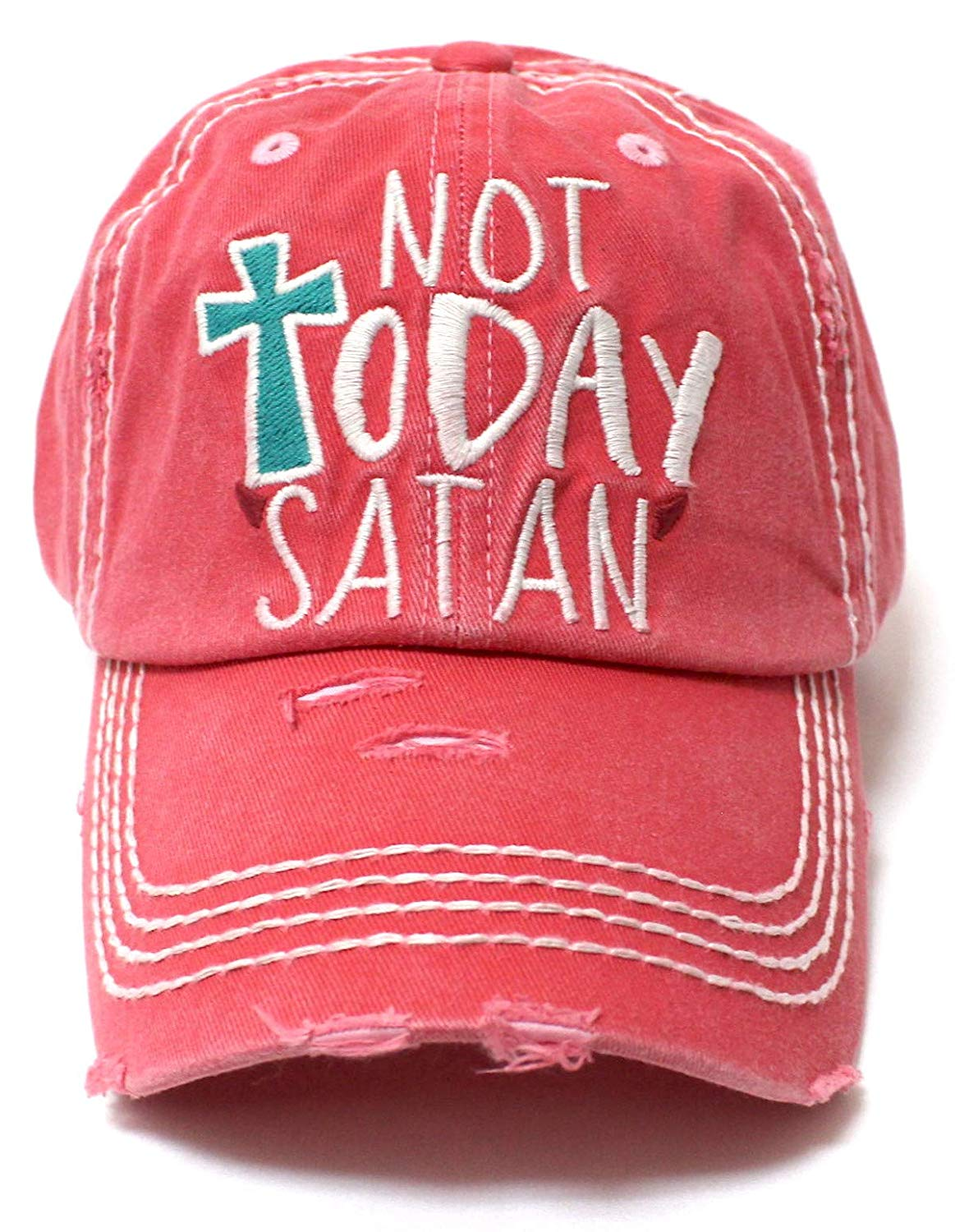 Coral Rose NOT Today Satan Devil's Horns Ballcap - Caps 'N Vintage