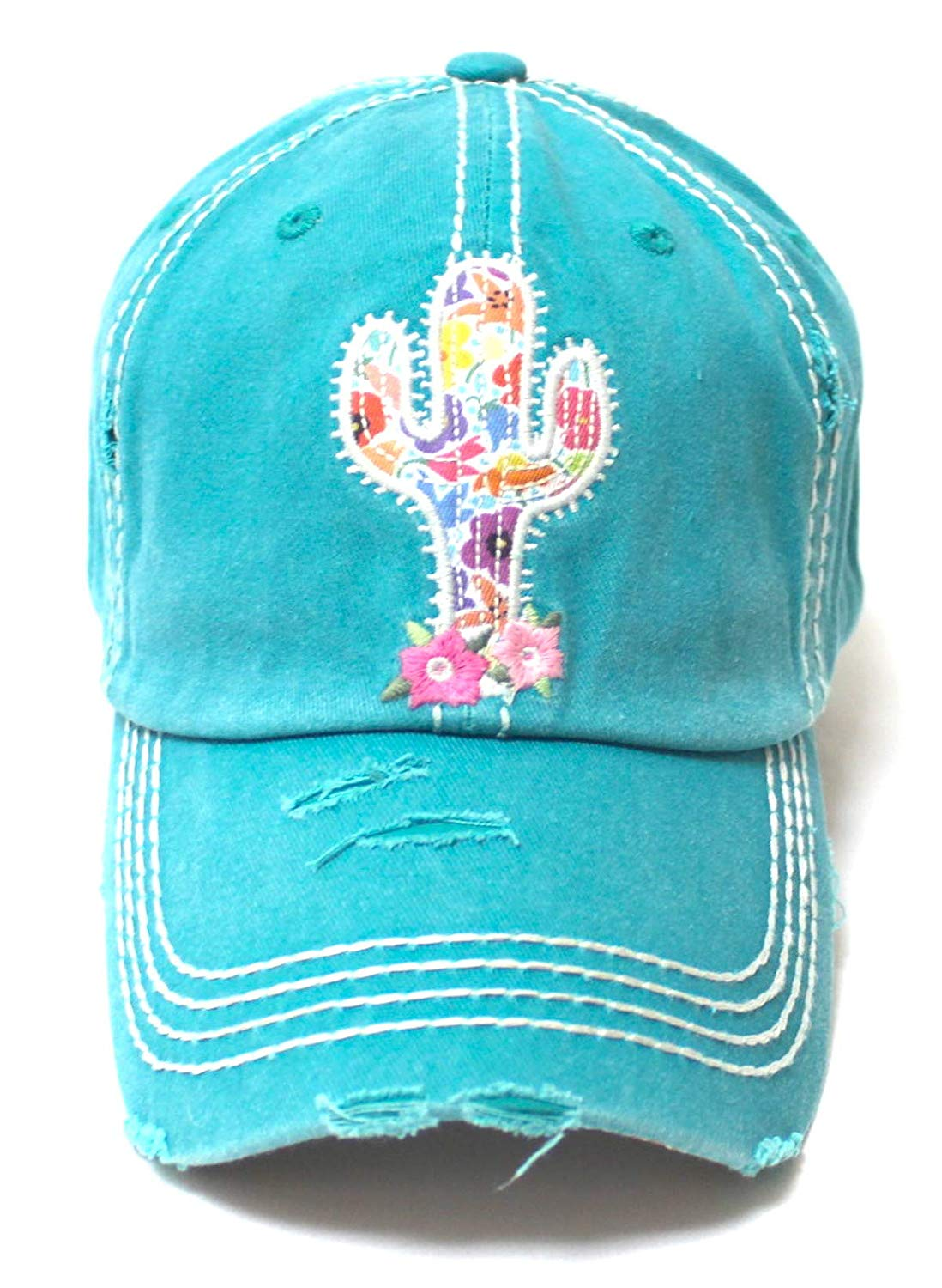 Cactus Floral Patchwork Embroidery Baseball Cap w/Monogram Bloom Detail, Turquoise - Caps 'N Vintage