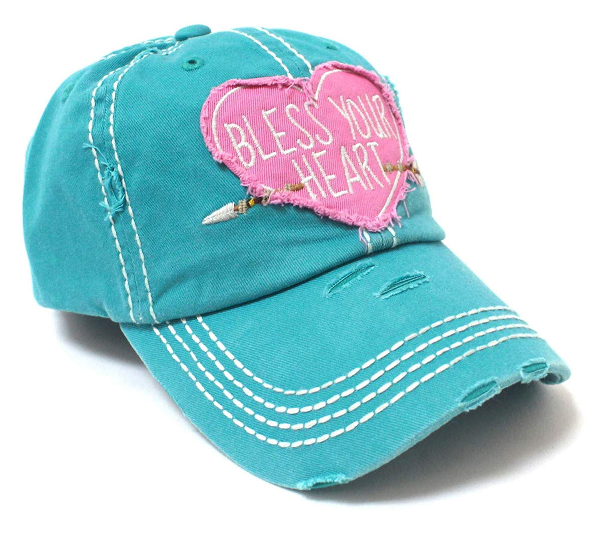 New!! Turquoise Heart & Arrow Bless Your Heart Vintage Hat - Caps 'N Vintage