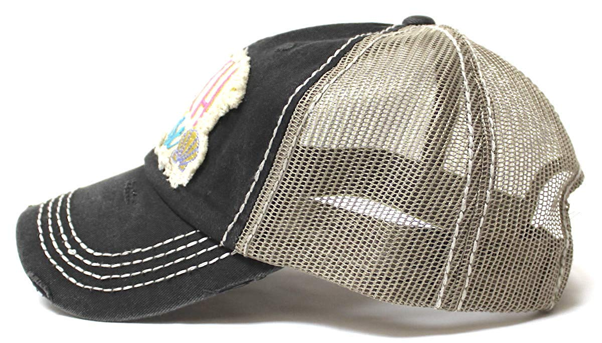 Women's Vintage Trucker Hat Beach Please Patch Embroidery Graphic, Blk - Caps 'N Vintage