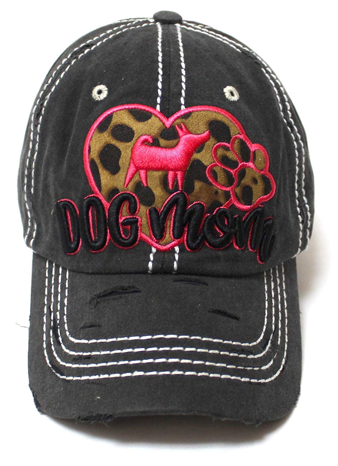 Leopard Print Heart, Dog Mom Monogram Embroidery, Paw Print Embroidery Adjustable Hat, Vintage Black