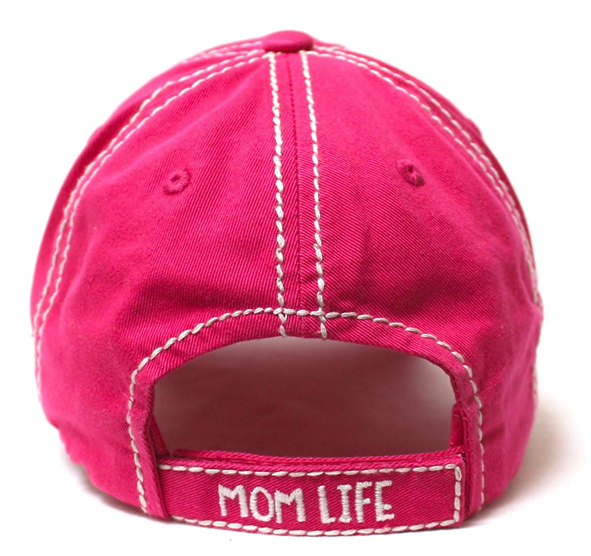 Women's Ballcap Mommin' is My Cardio Distressed Vintage Unconstructed Embroidered Hat, Hot Pink - Caps 'N Vintage