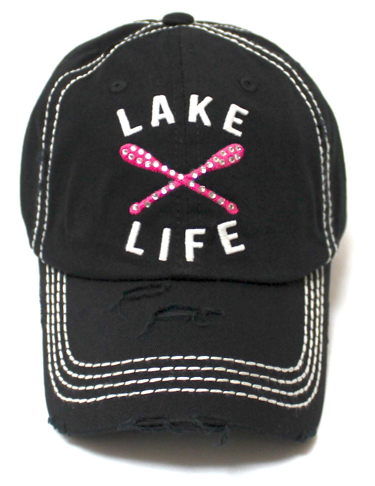 Women's Vintage Beach Cap Lake Life Embellished Boat Paddles Monogram Embroidery Hat, Black - Caps 'N Vintage