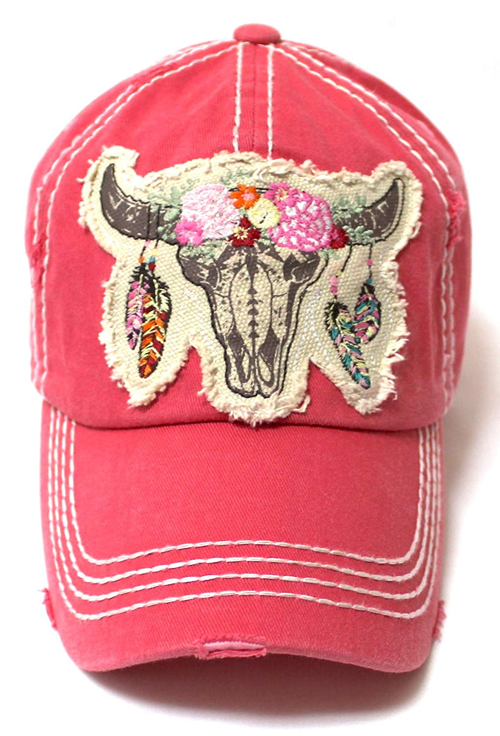 Women's Floral Cow Skull Patch Embroidery Vintage Baseball Hat, Rose Pink - Caps 'N Vintage