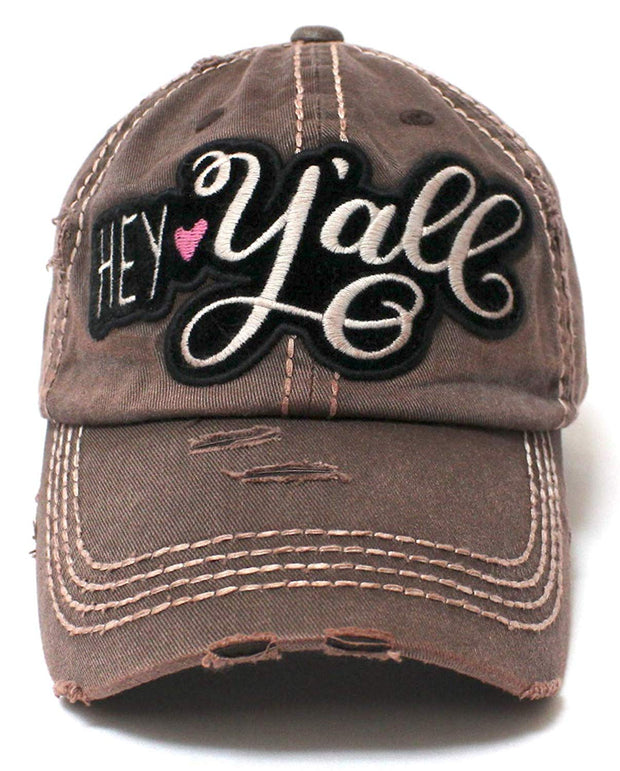 Rustic Bronze Hey Y all Velvet Patch Emroidery Hat w Heart Detail - Caps e8b1c8be07d8