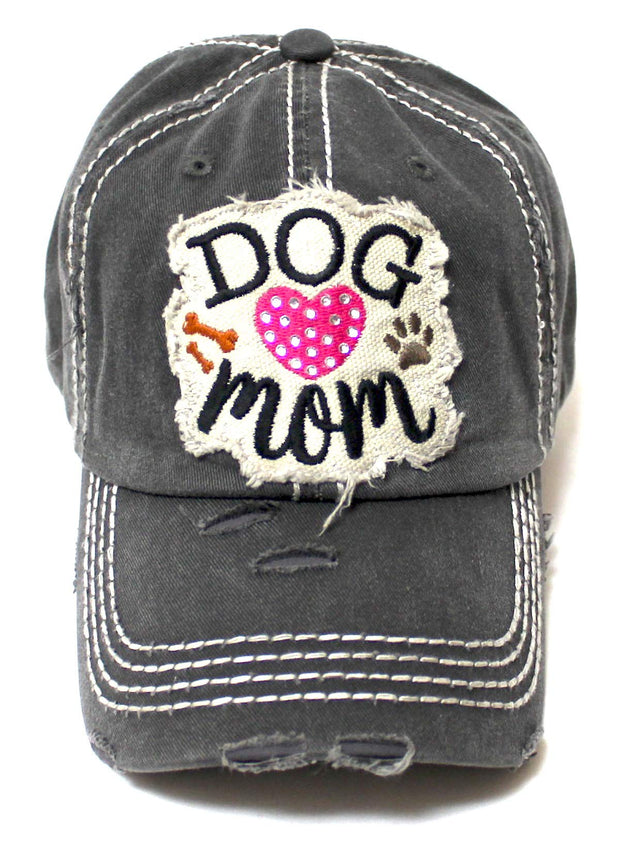 Womens Dog Mom Beach Hat Accessory Patch Embroidery Baseball Cap, Vintage Black - Caps 'N Vintage