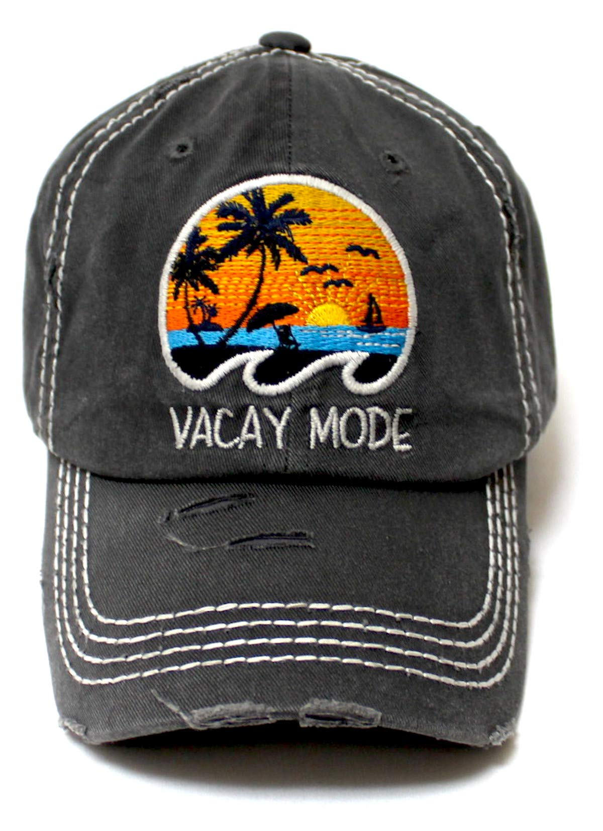 Classic Distressed Adjustable Baseball Cap Vacay Mode Surf, Sun & Ocean Wave Monogram Hat, Vintage Black - Caps 'N Vintage