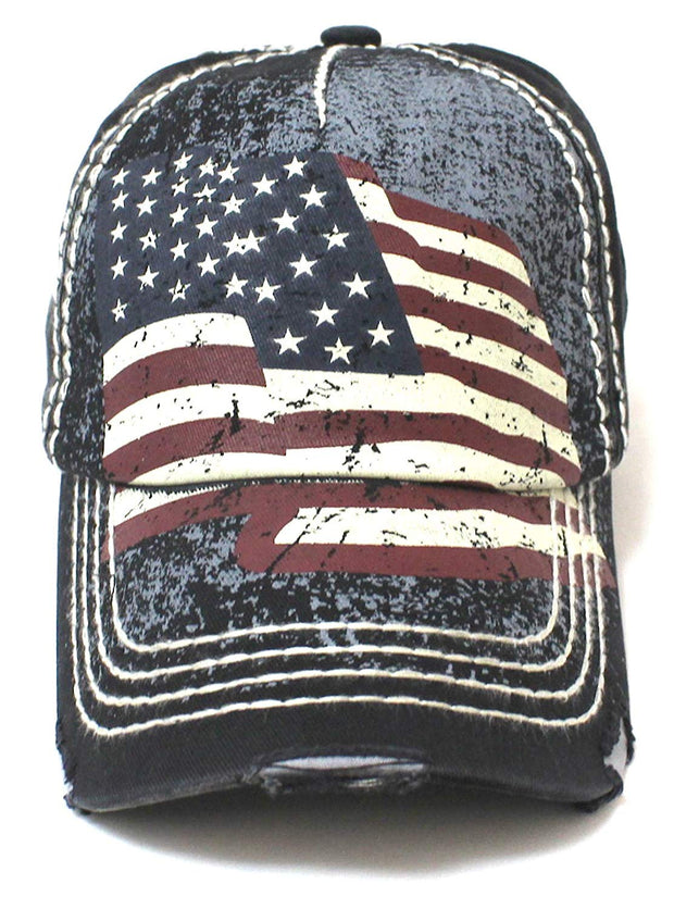 New! Amercan Black Folding USA Flag Vintage Ballcap - Caps 'N Vintage