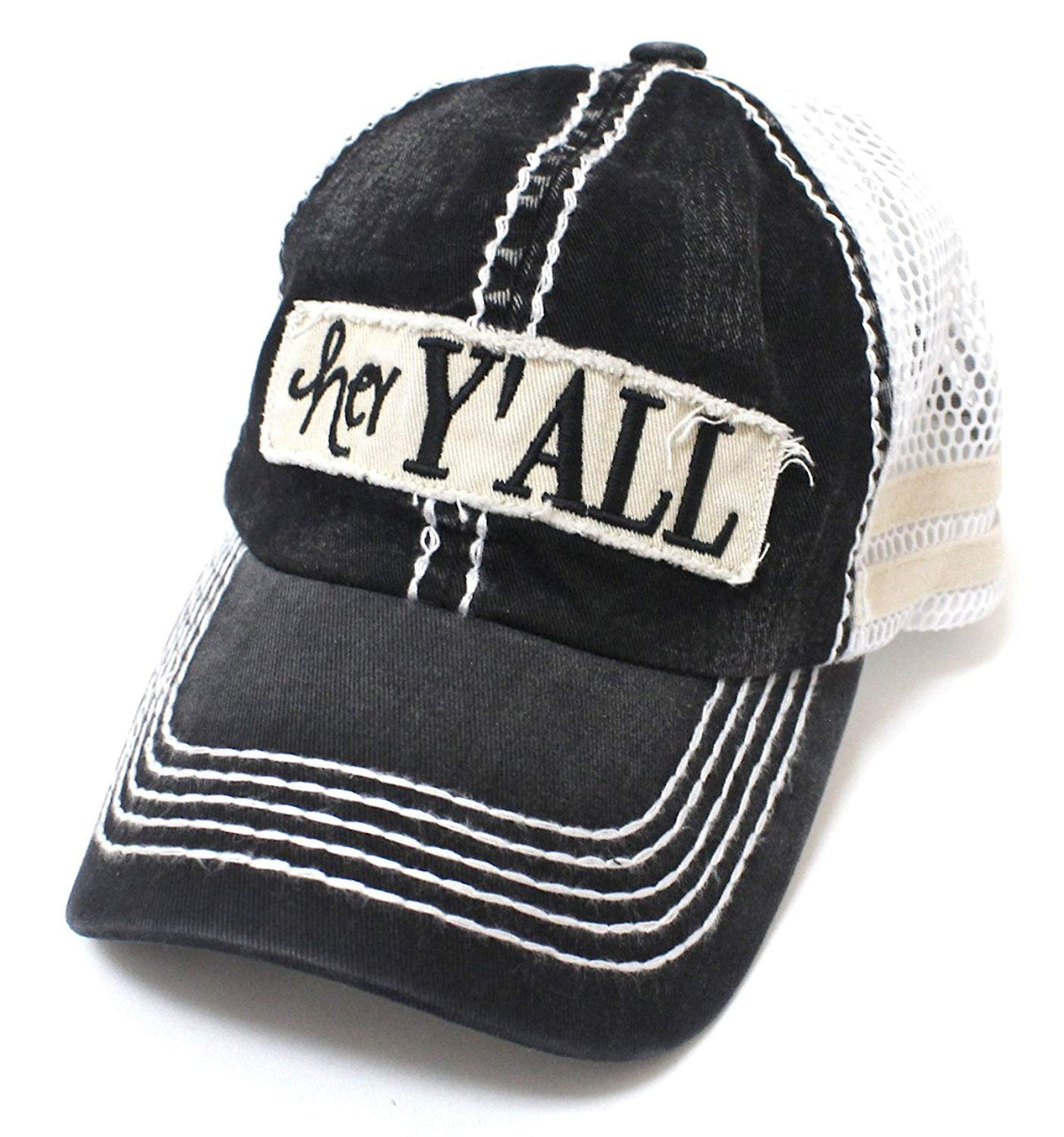"New!! Black ""Hey Y'all"" Mesh Trucker Hat - Caps 'N Vintage"
