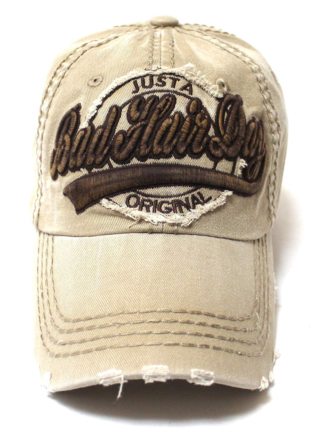 Classic Low Profile Bad Hair Day Original Ball Cap, Vintage Khaki - Caps 'N Vintage