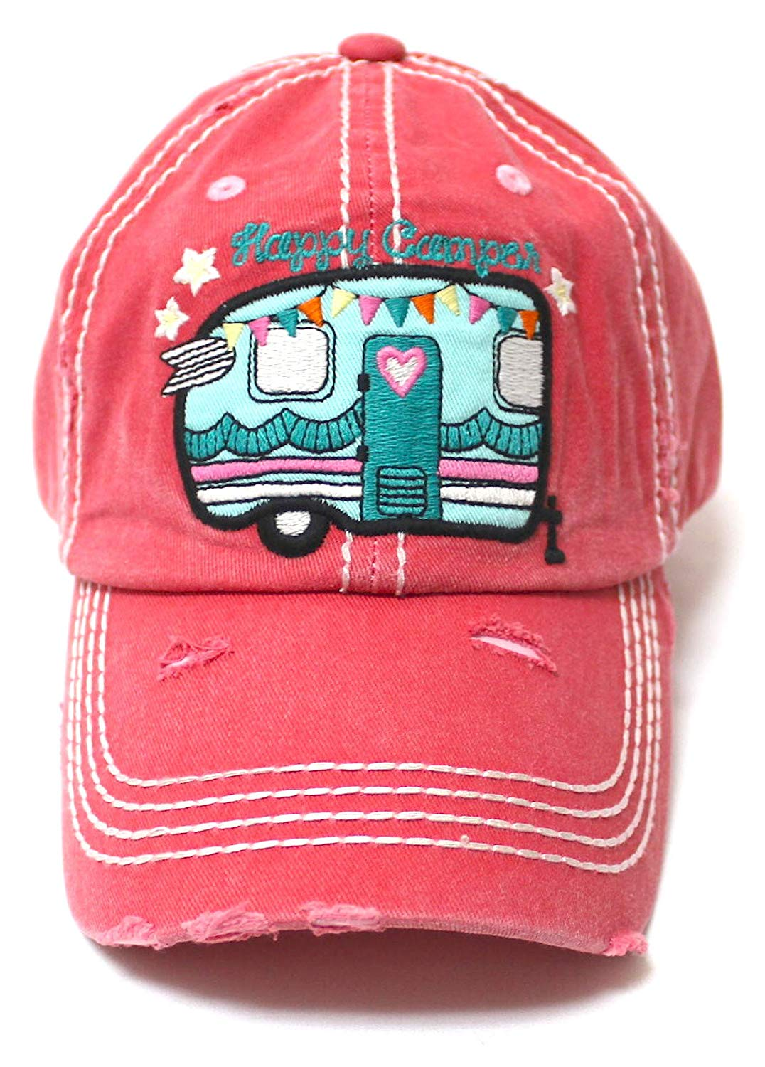 Camping Ballcap Happy Camper RV Truck, Hearts & Stars Patch Embroidery Hat, Rose Pink - Caps 'N Vintage