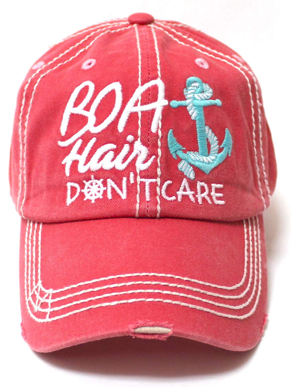 CAPS 'N VINTAGE Beach Accessory Boat Hair Don't Care Monogram Baseball Hat, Coral Rose - Caps 'N Vintage