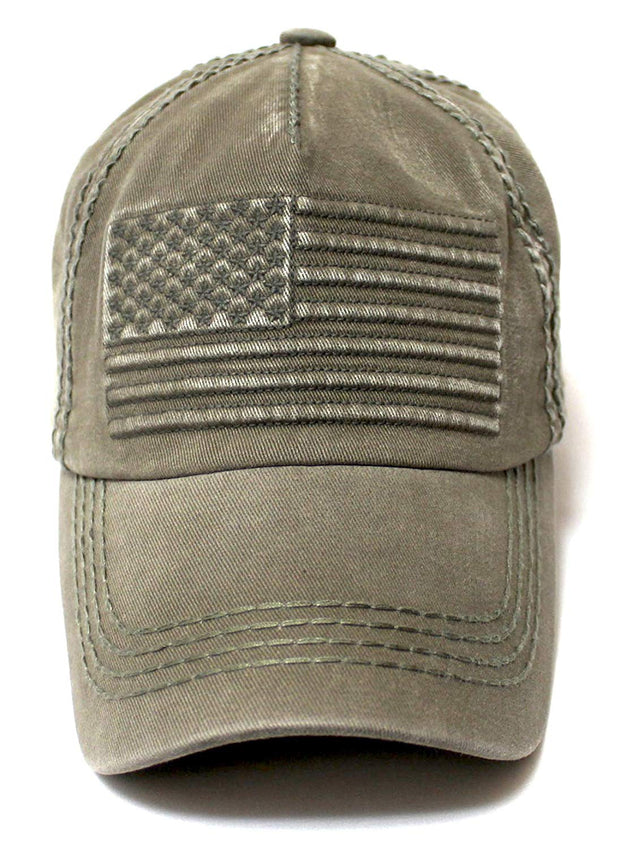 Classic Low Profile USA Vintage Flag Ball Cap, Washed Army Olive - Caps 'N Vintage